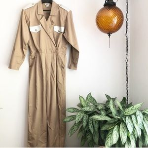 Vintage Rip silver studded jumpsuit tan size large